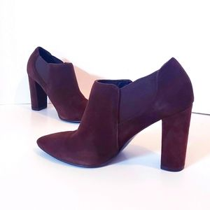 Marc Fisher Brown Suede Block Heel Booties